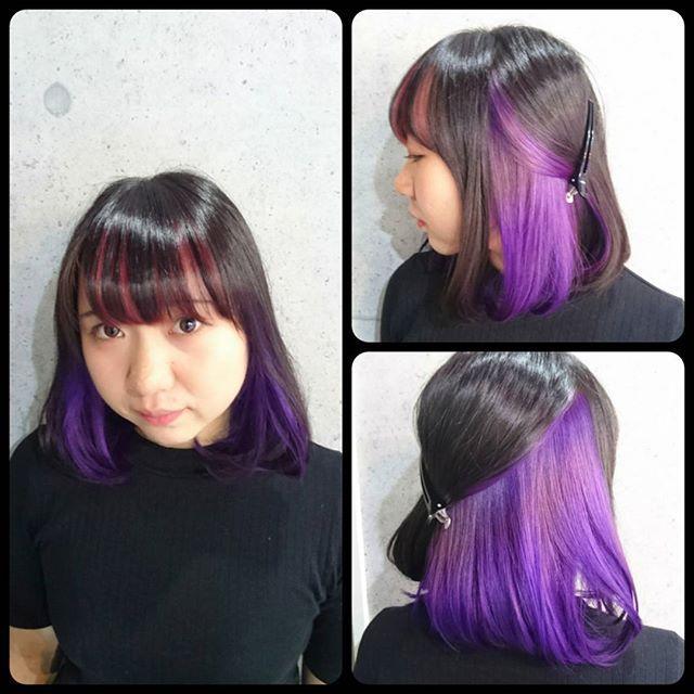Websta Routy Salon 黒 紫 ピンク のインナーカラーを インナーは真紫 青紫のグラデーションに 自分しかわからなかったとしても 自己満足ならそれでいいんですよね