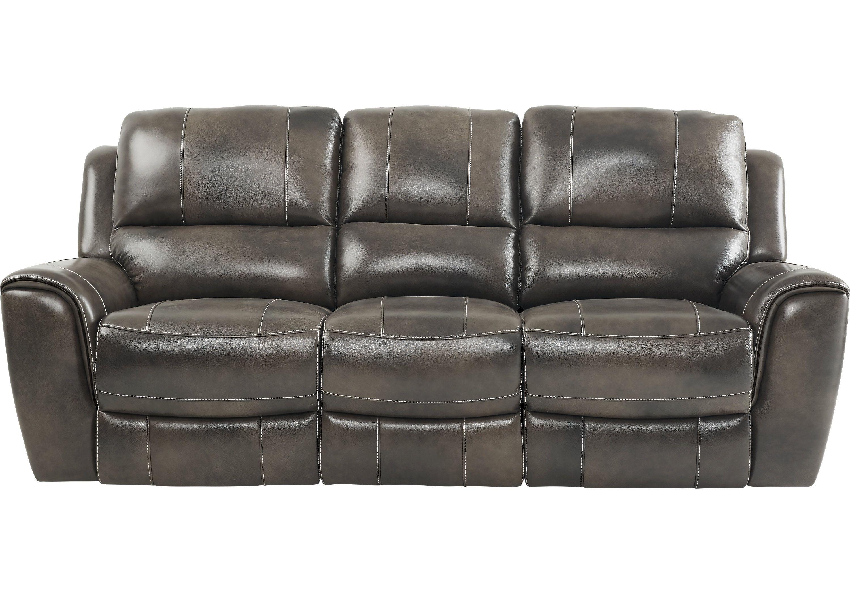 Lanzo Gray Leather Power Plus Reclining Sofa Reclining Sofas