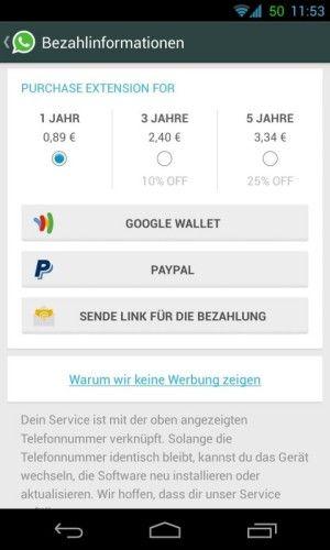 La nuova versione di Whatsapp per Android (disponibile sul Play Store) introduce il pagamento con PayPal e tre tipi di abbonamento.