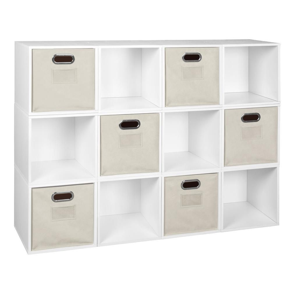 Niche 39 In H X 52 In W X 13 In D White Wood 12 Cube Storage Organizer Pc12pkwh6totent The Home Depot Cube Storage Fabric Storage Bins White Storage