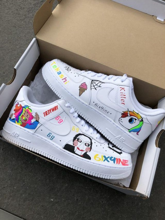 6ix9ine Nike Air Force 1 Custom | Nike air, Nike air force