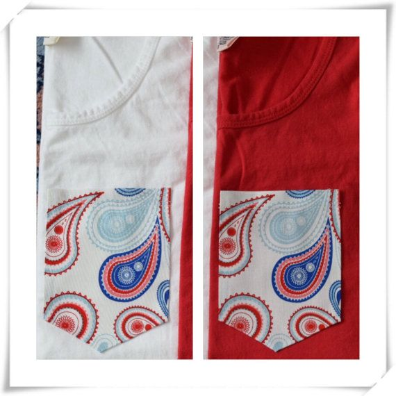 Paisley Patriotic Pocket Tank Top or T-Shirt