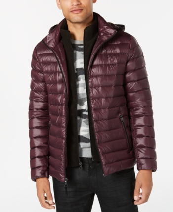 Men's Packable Down Calvin Puffer Red Klein Jacket Hooded 0w8OPXnk