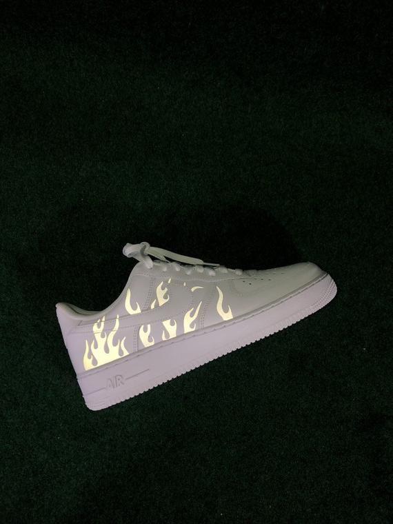 Air Force 1 Reflective Flame Custom | Custom shoes, Shoes