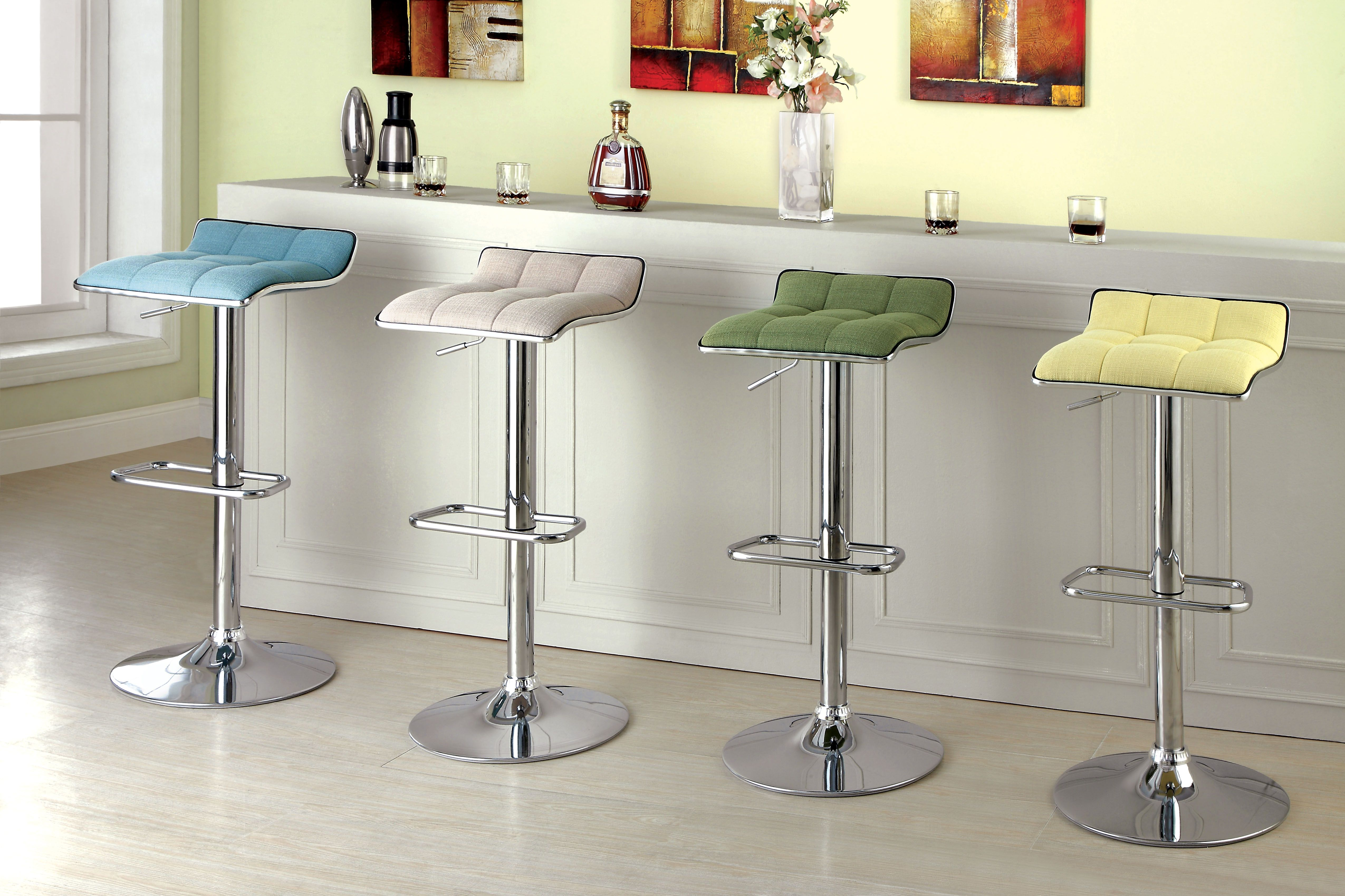 Furniture Of America Della Flax Swivel Bar Stool Blue Bar
