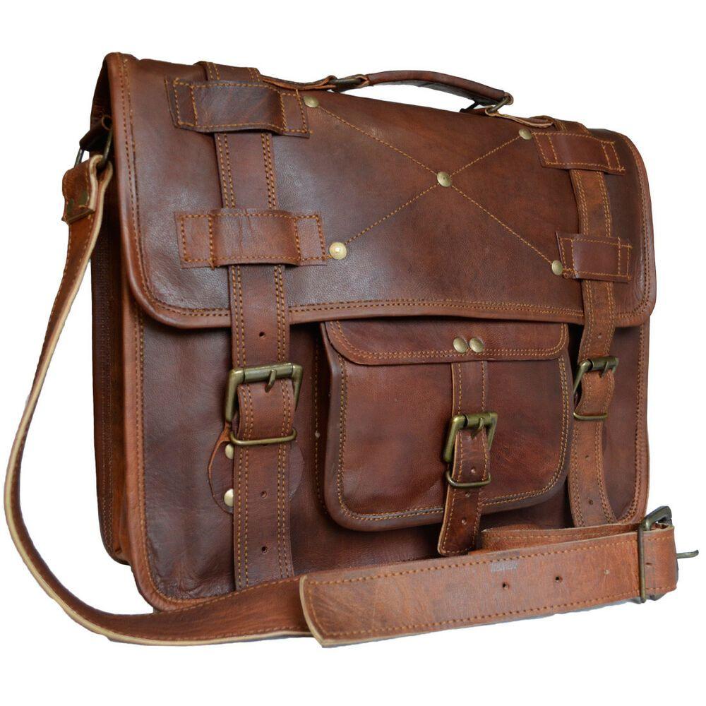 """Mens Leather Tote Office Briefcase 15/"""" Laptop Bag New Messenger Shoulder Bag"""