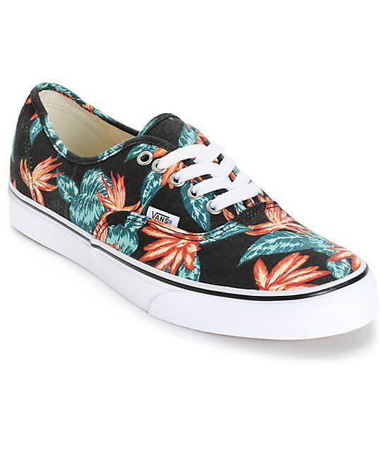 767605bf4747e Add some tropical style to any outfit with an all over Aloha floral print  on a black canvas upper and a flexible vulcanized construction for board  feel.