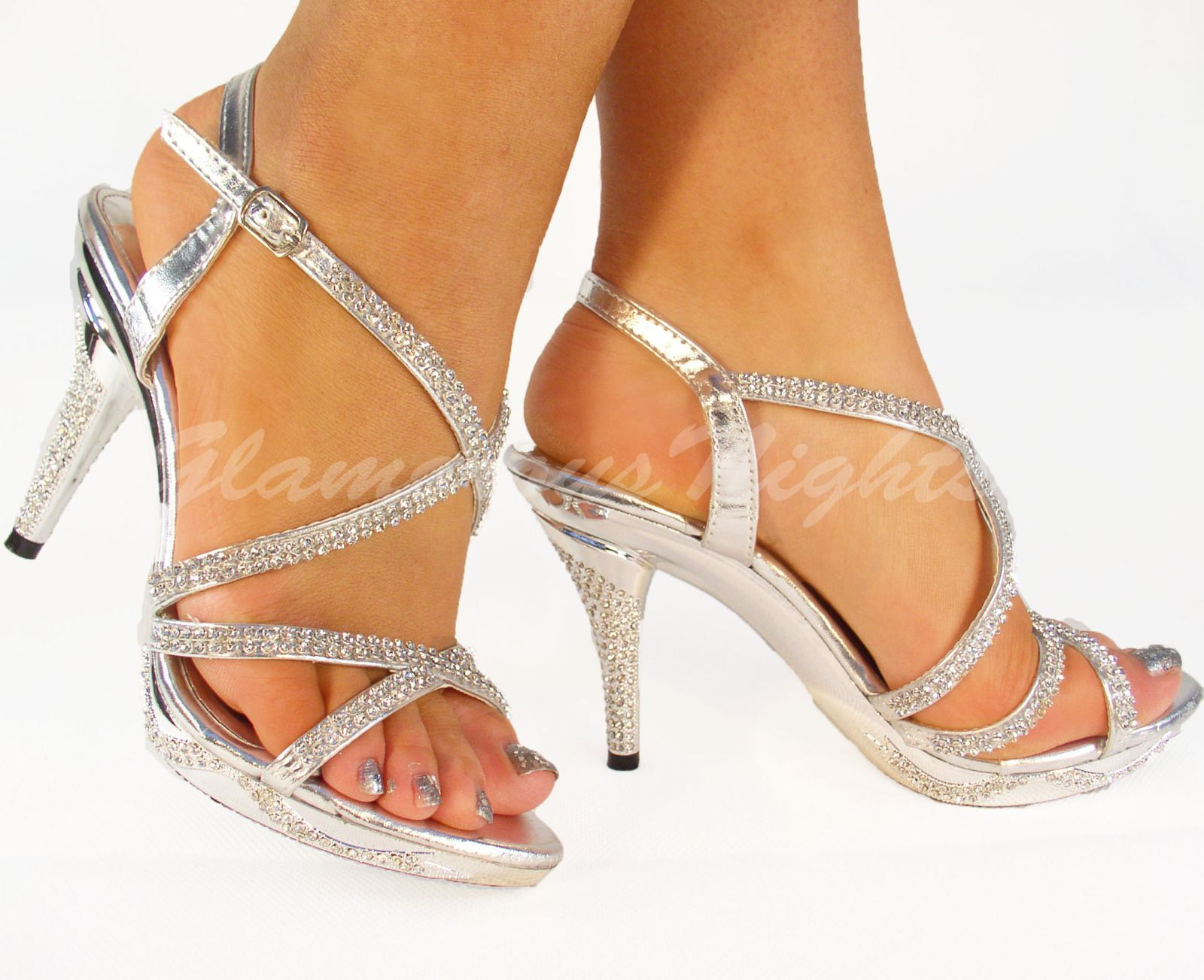 e6d440f3ca2 Silver diamante encrusted medium heel platform sandal shoes wedding ...