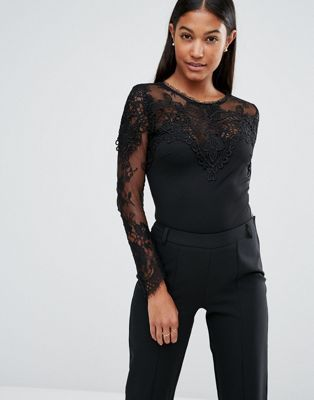 Michelle Keegan Loves Lipsy Long Sleeve Lace Bodysuit  faf9a0dc3