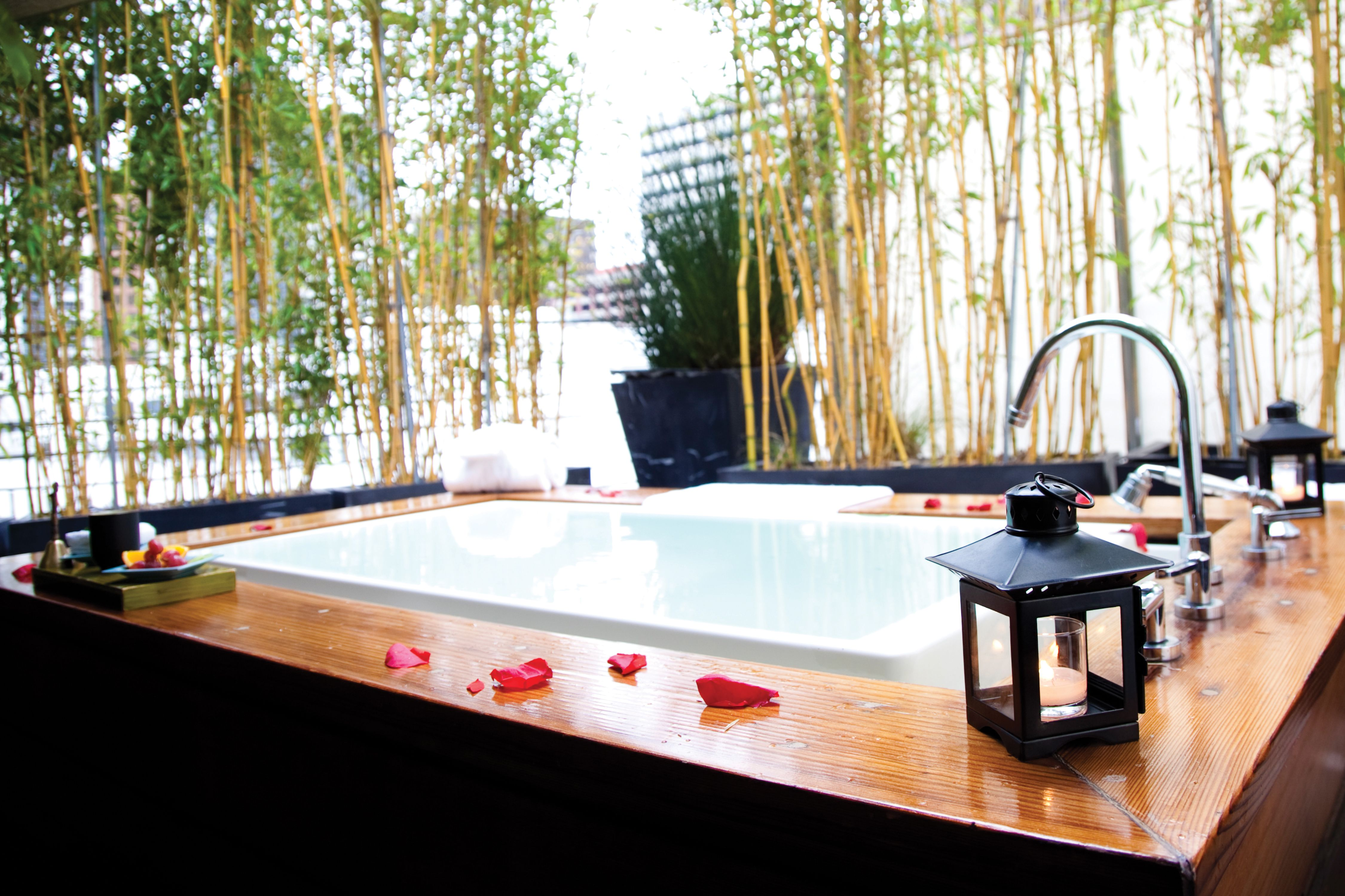 Spa Vitale private outdoor soaking tubs located on the penthouse ...