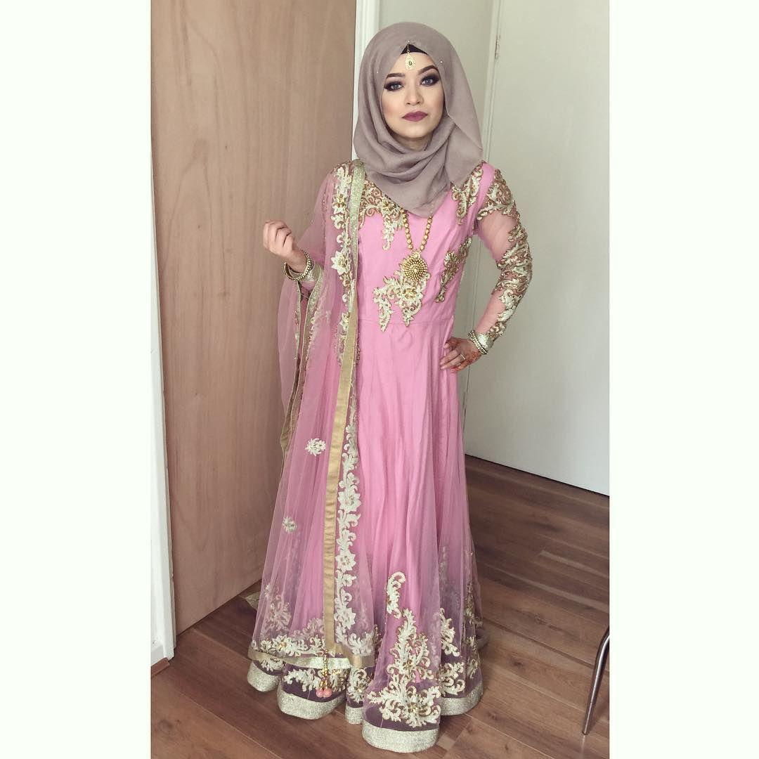 Desi hijabi pink anarkali | Outfits with Hijab! | Pinterest