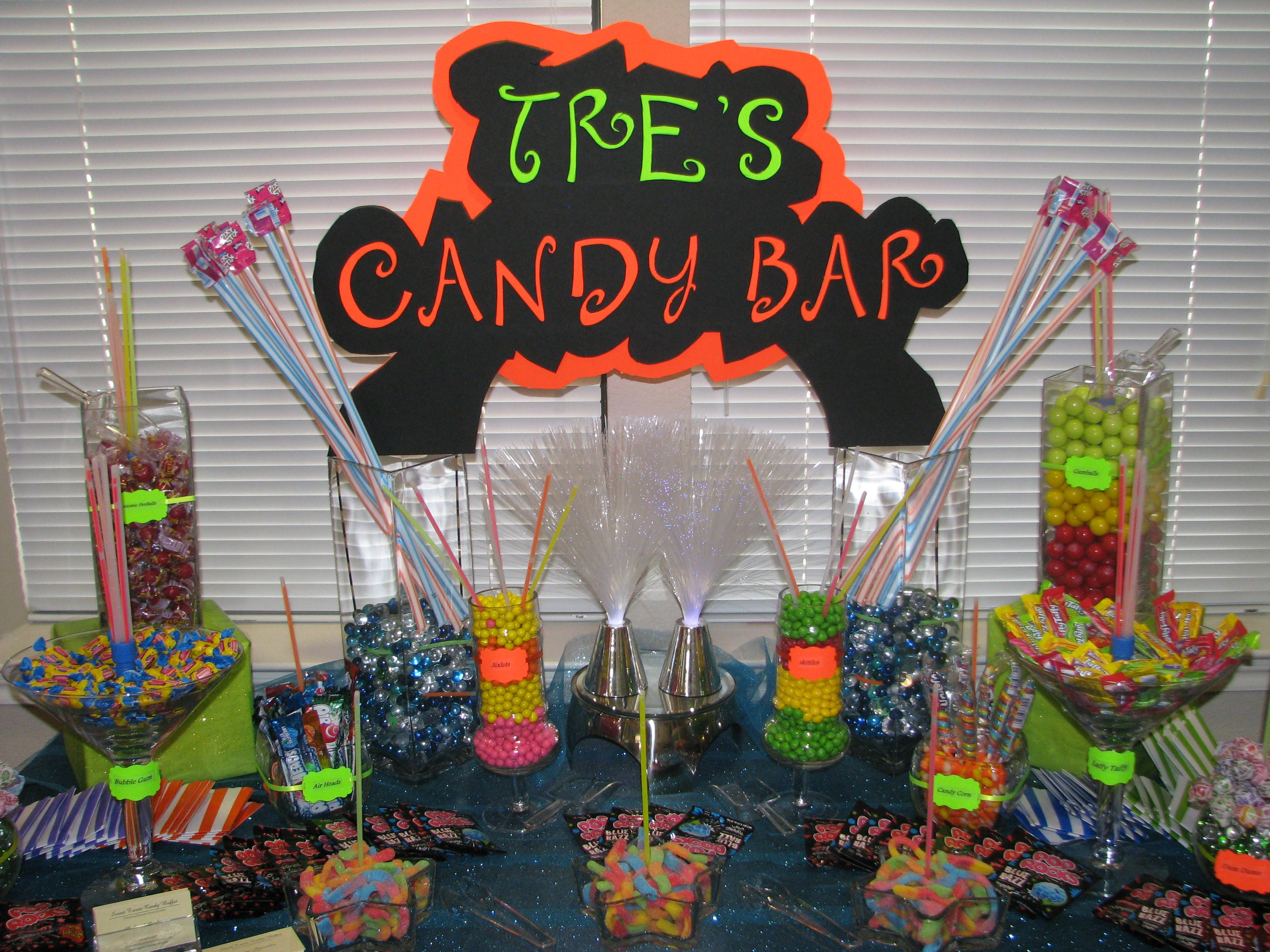 neon candy buffet table from sweet treats candy buffet san antonio rh pinterest com Neon Glow Party neon candy table ideas