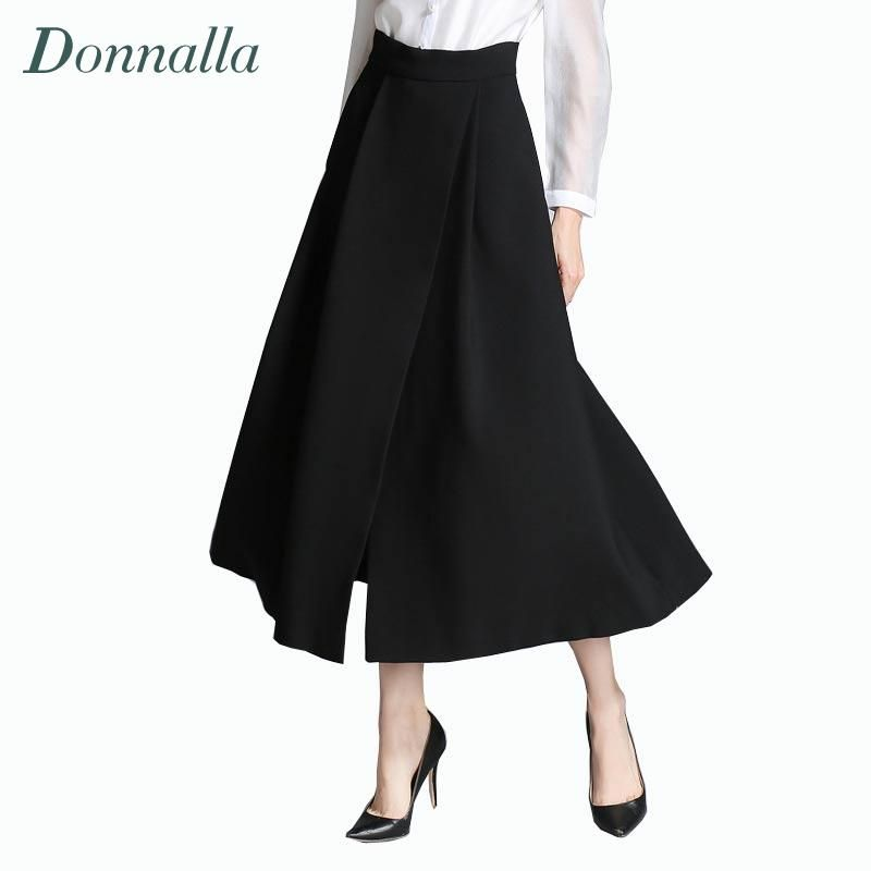 Designer Skirt Women Fashion Black A Line Skirts High Waist Long ...