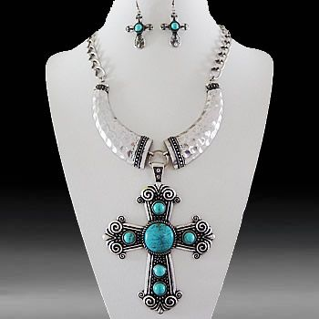 Cross Decorative Necklace & Earring Set-Turquoise