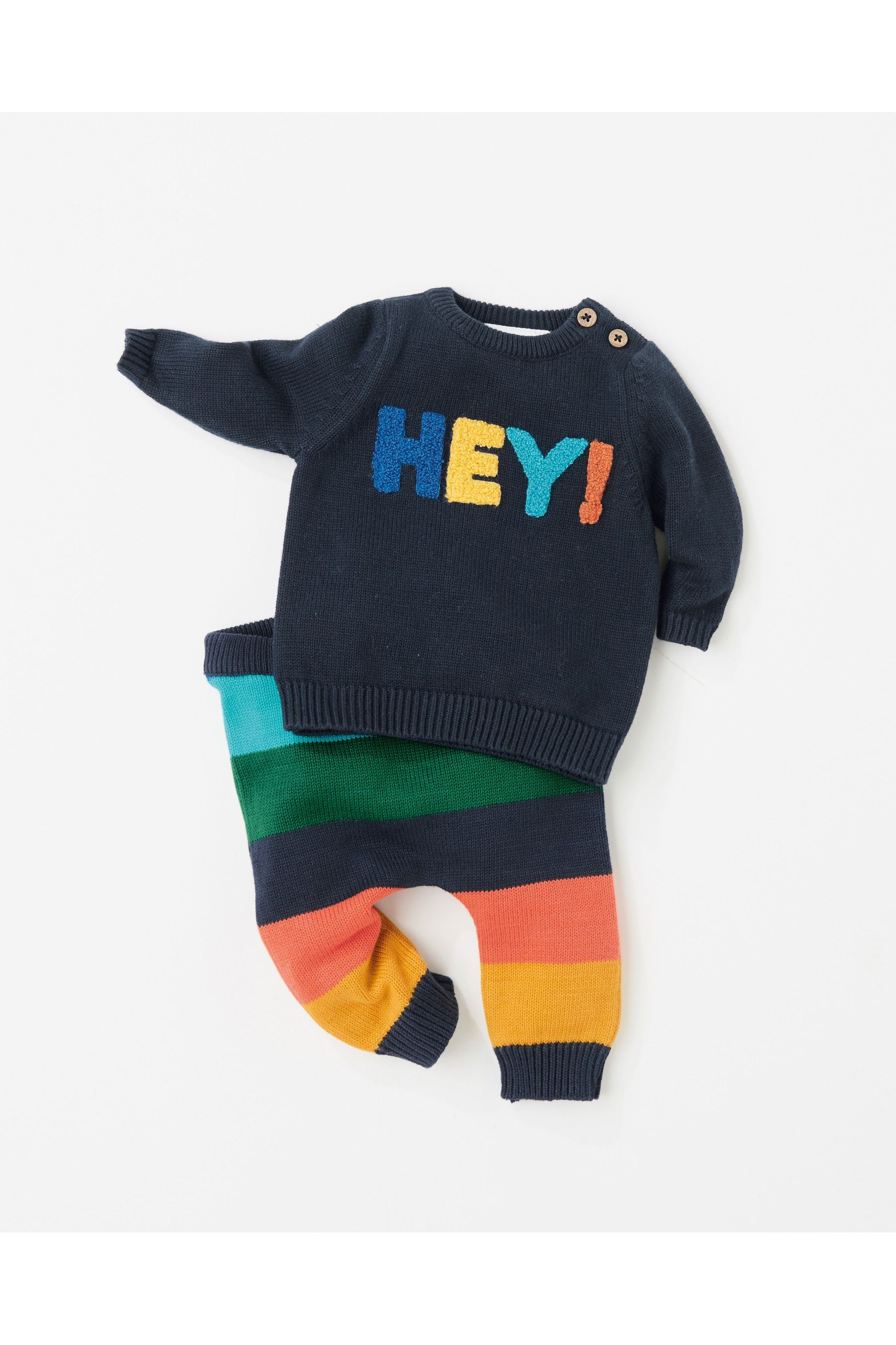 8a1efa53461a Boys Next Navy Knit Hey Slogan Jumper And Stripe Legging Set (0mths ...