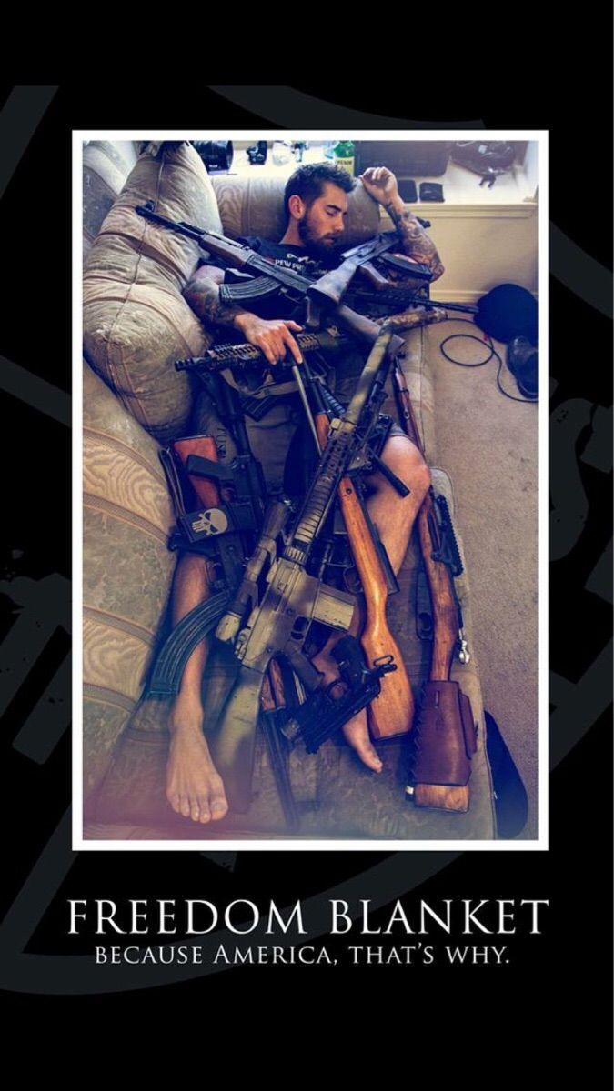 Freedom Blanket Guns Military Humor Funny