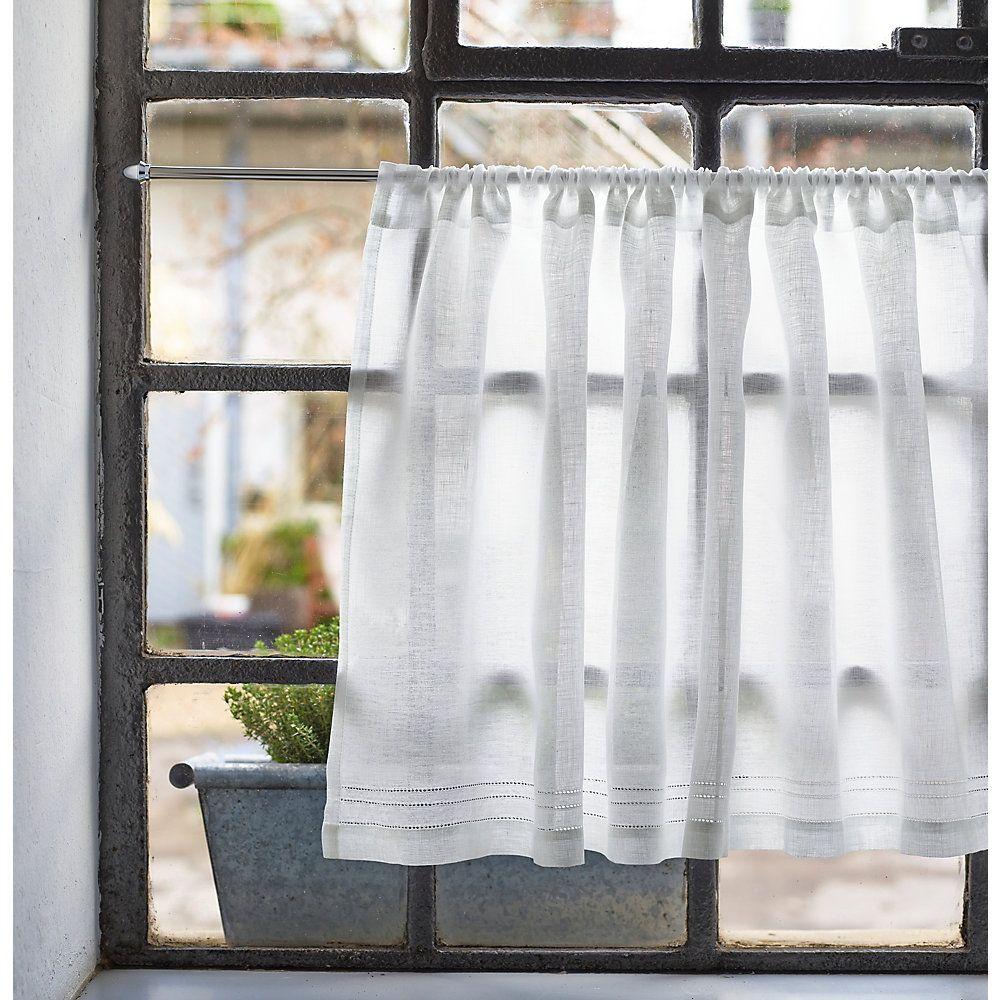 Half Curtain Linen Voile Wide 90 Cm Height 45 Cm Manufactum In 2020 Scheibengardine Gardinen Kuchengardinen