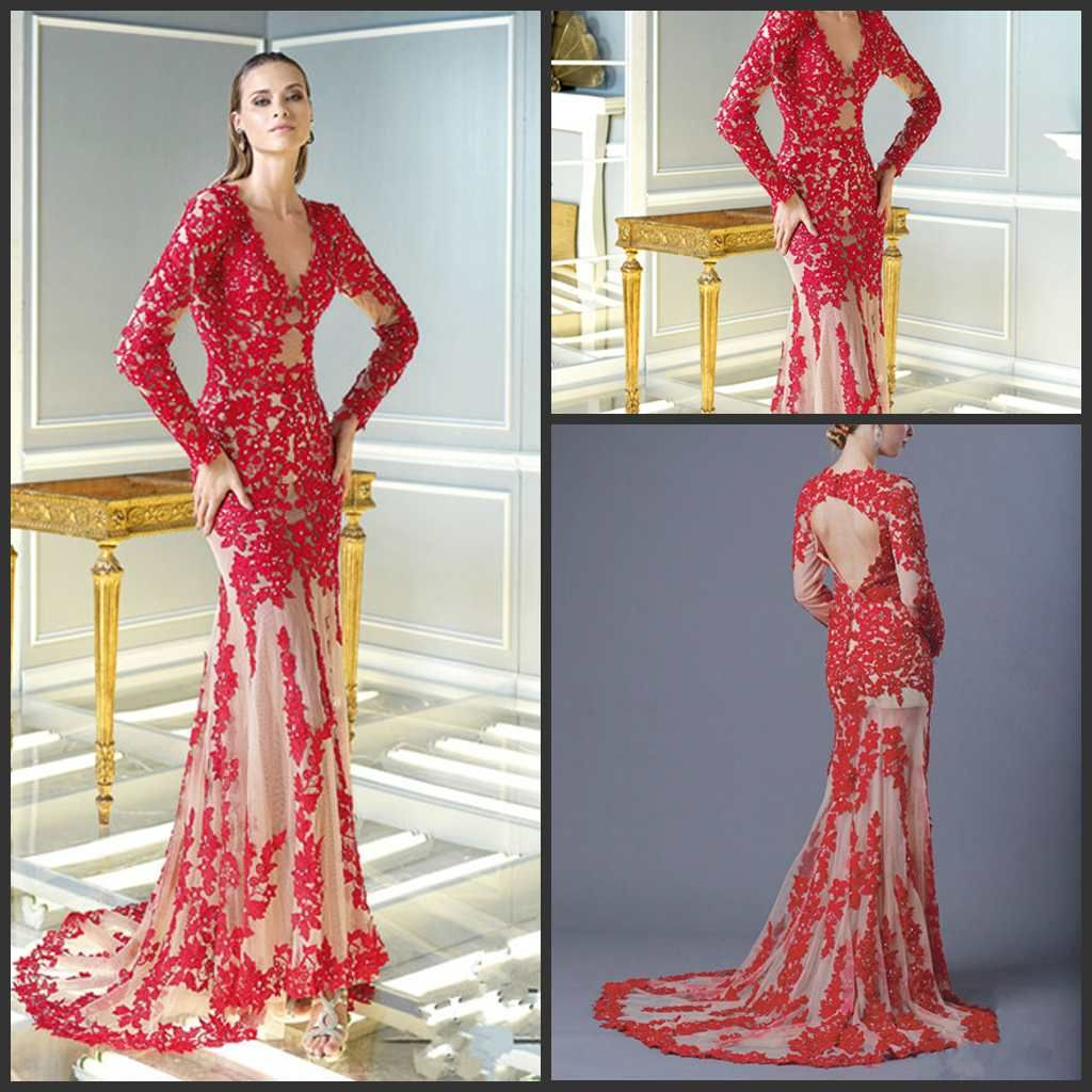 2014-Evening-Dress-Long-Sleeve-Red-Lace-See-Through-Wedding-Bridal ...