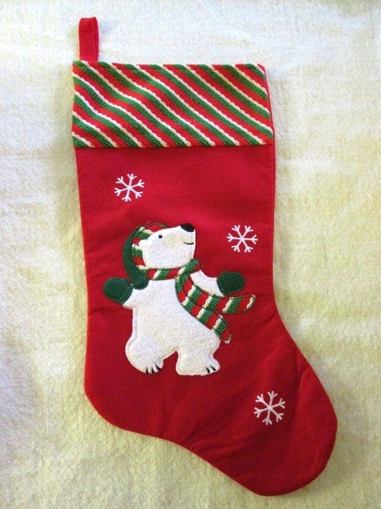 lot of 9 adorable bernard the polar bear christmas stockings new