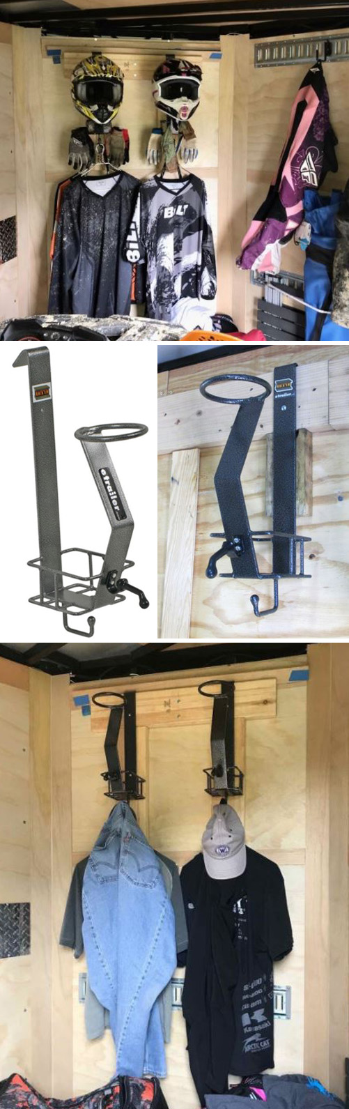 Organize your helmets and gear up and off the ground in your enclosed trailer or on any wall.