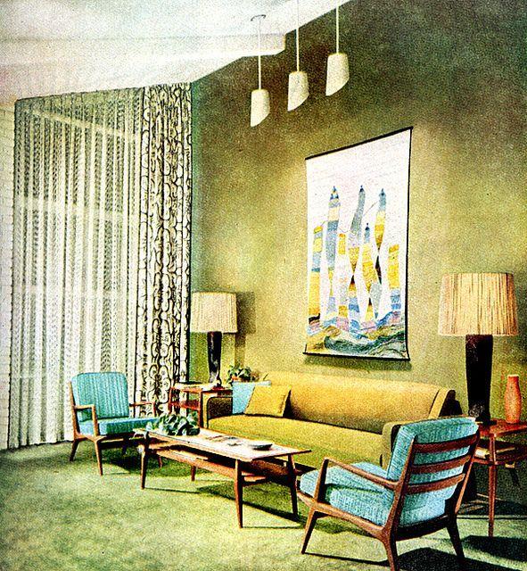 Living Room 1955 Retro Living Rooms Mid Century Living Room Mid Century Modern Interiors