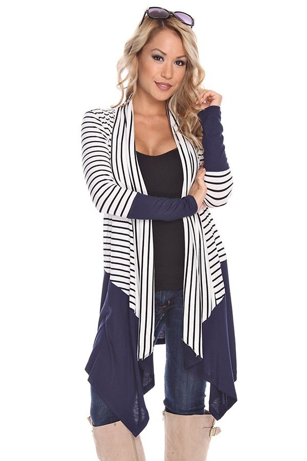 NAVY STRIPED SHAWL DRAPED OPEN FRONT CARDIGAN, | Bucket List #1 ...