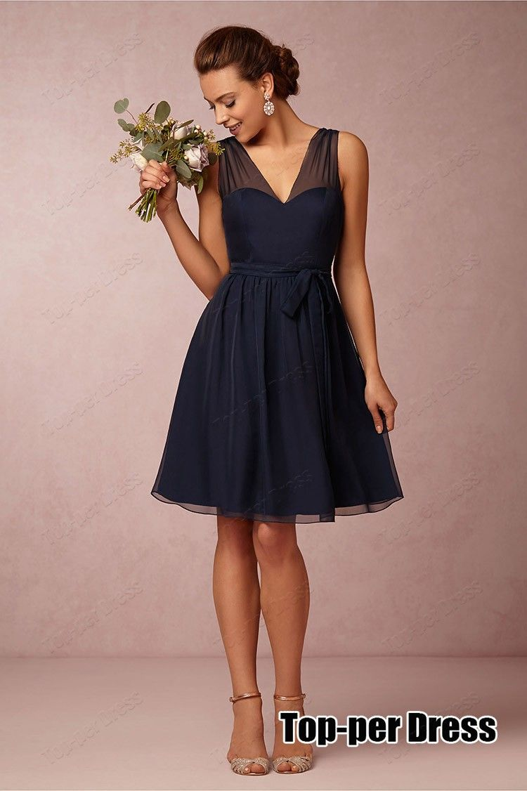 Navy blue short bridesmaid dresses 2015 vestido de festa for Short blue wedding dresses