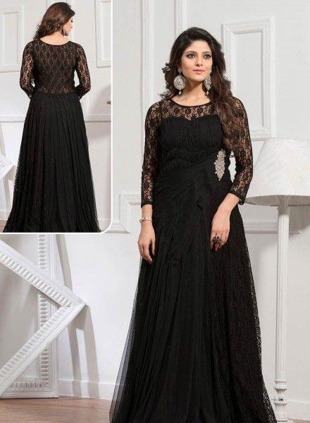 Black Backless Designer Handwork Gown Bridal Collection