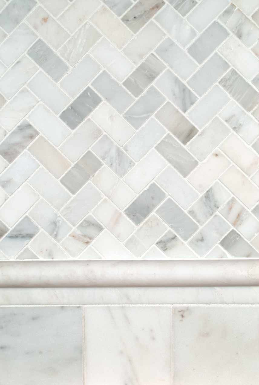 Arabescato Carrara Herringbone Pattern and 4x4 Honed and Beveled ...