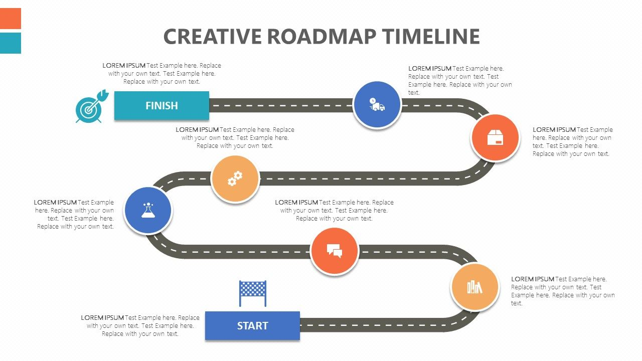 The Creative Road map PowerPoint Timeline helps you show