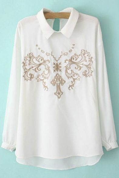 Lapel Totem Embroidery Dip Hem Long Sleeve Chiffon Blouse