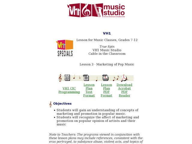 Lesson 3 Marketing of Pop Music 7th - 12th Grade Lesson Plan - lesson plan objectives