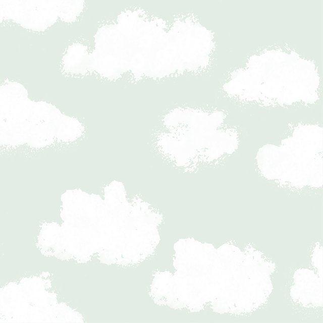 Kinderzimmer Tapete 'Wolken' mint/warmweiß Kinderzimmer