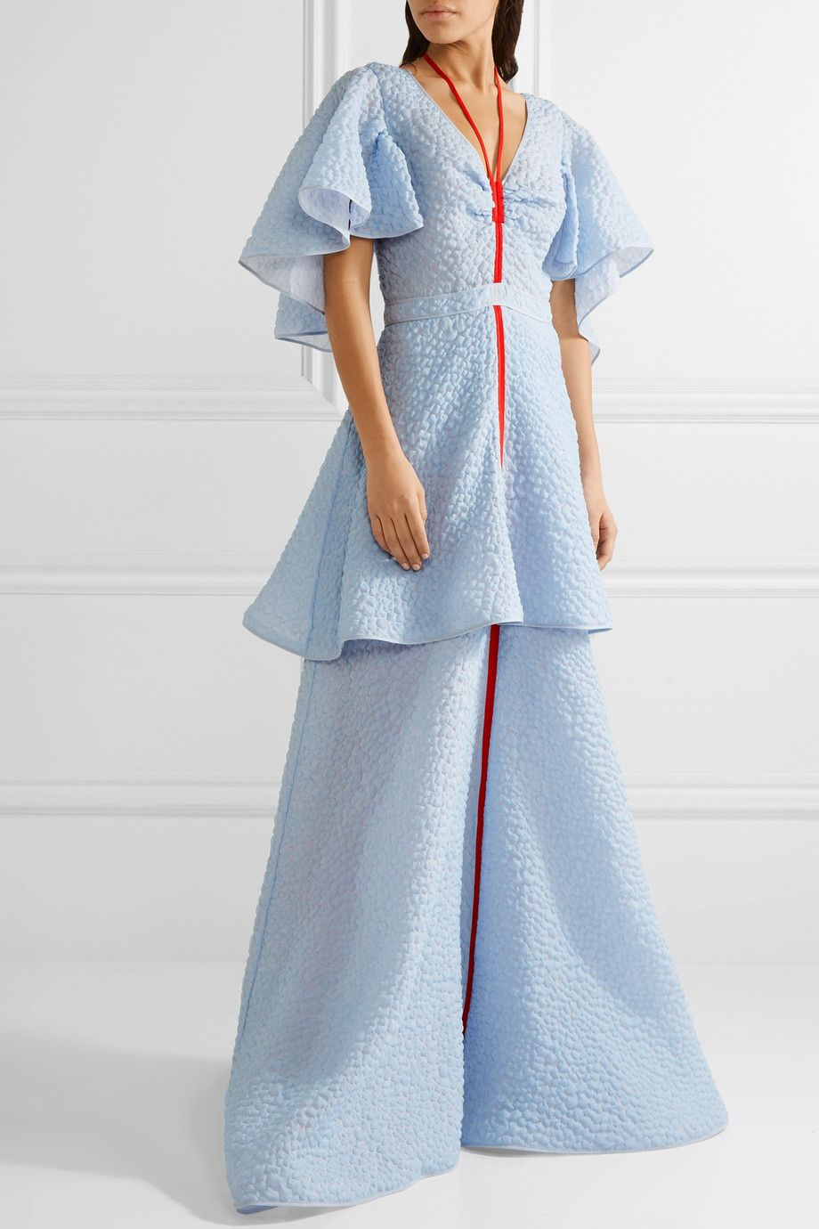 Rosie Assoulin | Tie-neck ruffled seersucker gown | NET-A-PORTER.COM