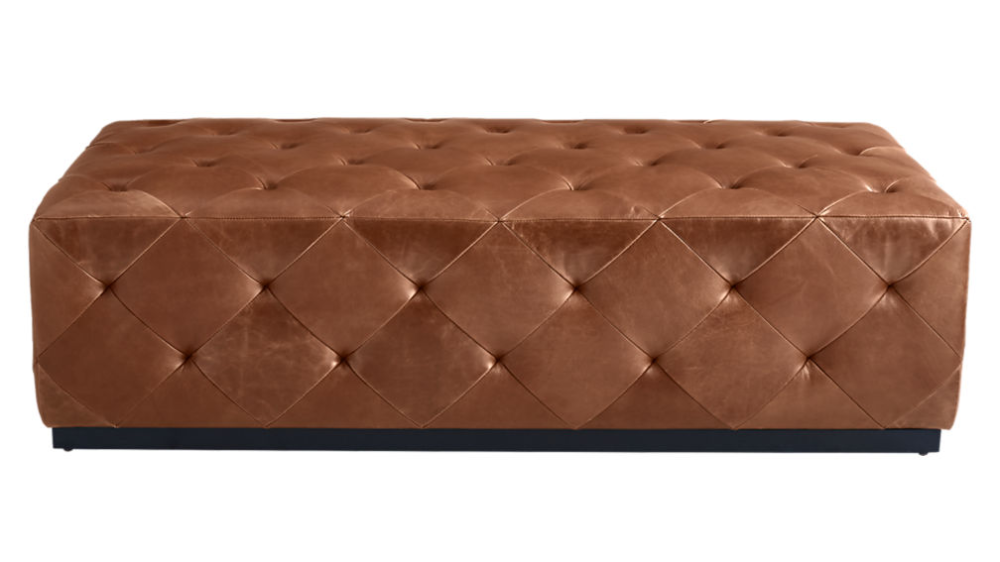 Saddle Leather Tufted Ottoman Reviews Cb2 In 2020 Tufted Ottoman Tufted Leather Ottoman Saddle Leather