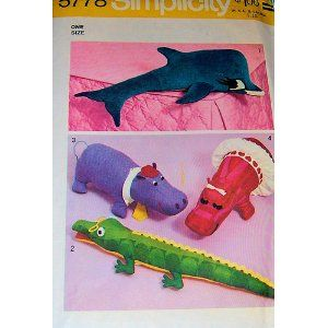 Simplicity 5778 Craft Sewing Pattern, Stuffed Animals, Mr. and Mrs. Hippo, Alligator, Dophin, Vintage 1973 OOP