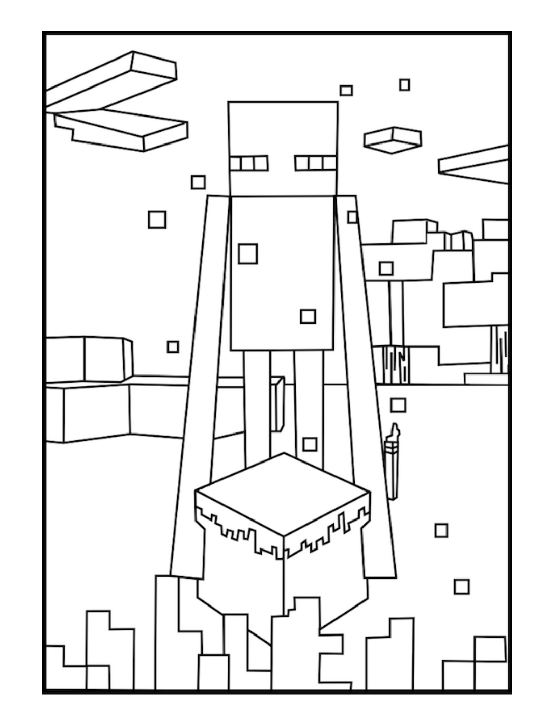 Minecraft Coloring Page Enderman Kolorowanki, Minecraft