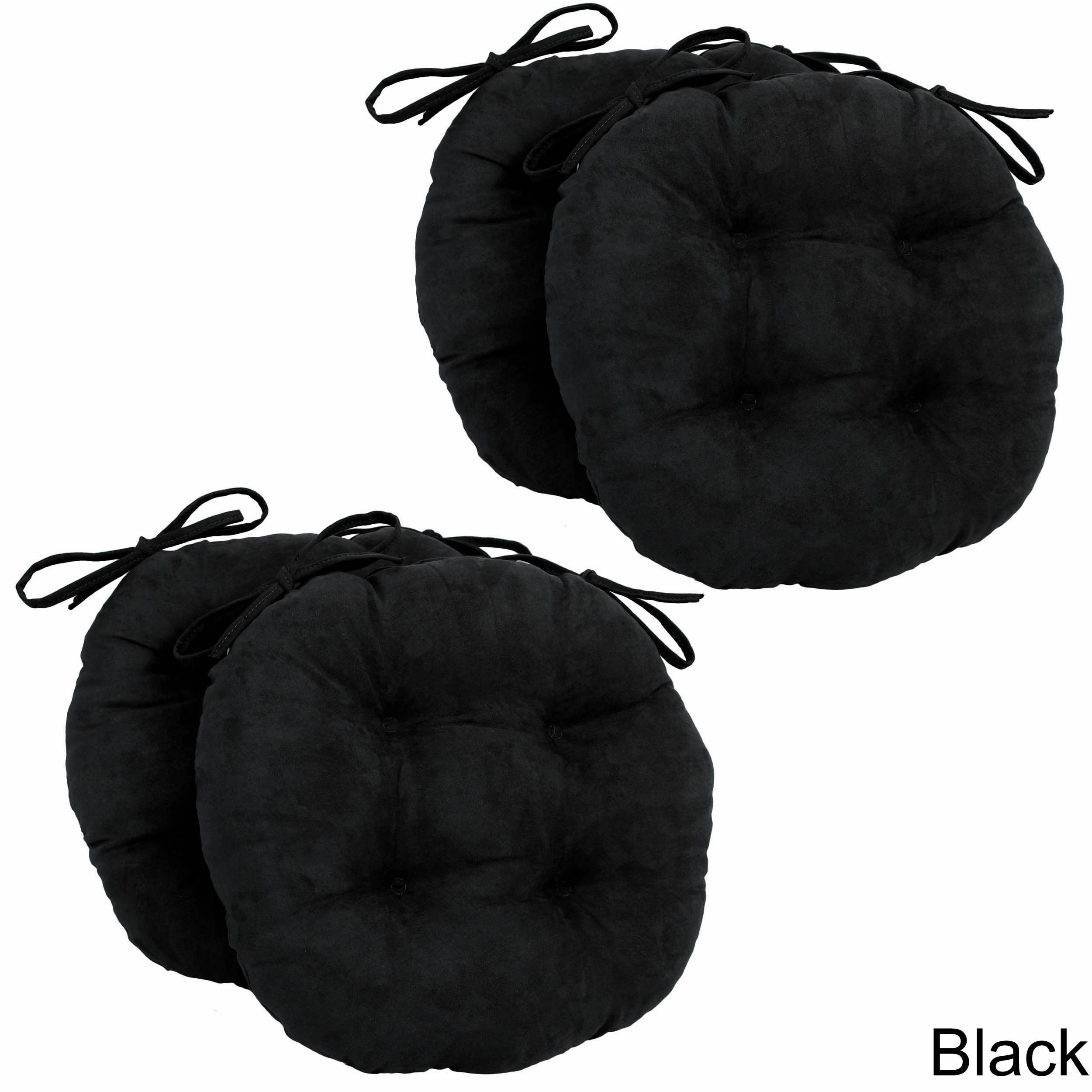 Blazing Needles 16x16 Inch Round Microsuede Chair Cushions (Set Of 4)  (Black), Size 16 X 16 #RoundChair