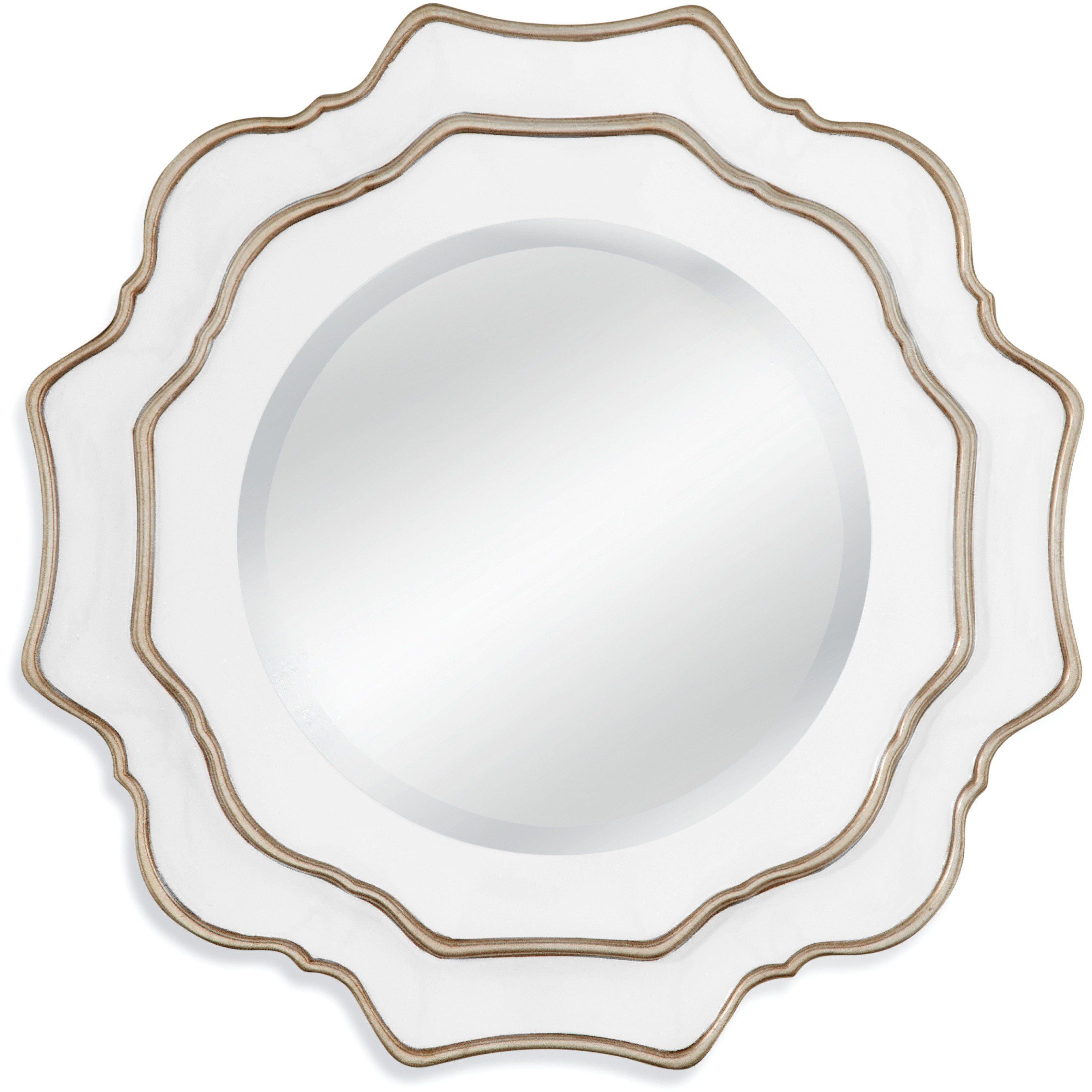 Bassett Mirror Tabitha Wall Mirror White Silver 30 Quot X 30