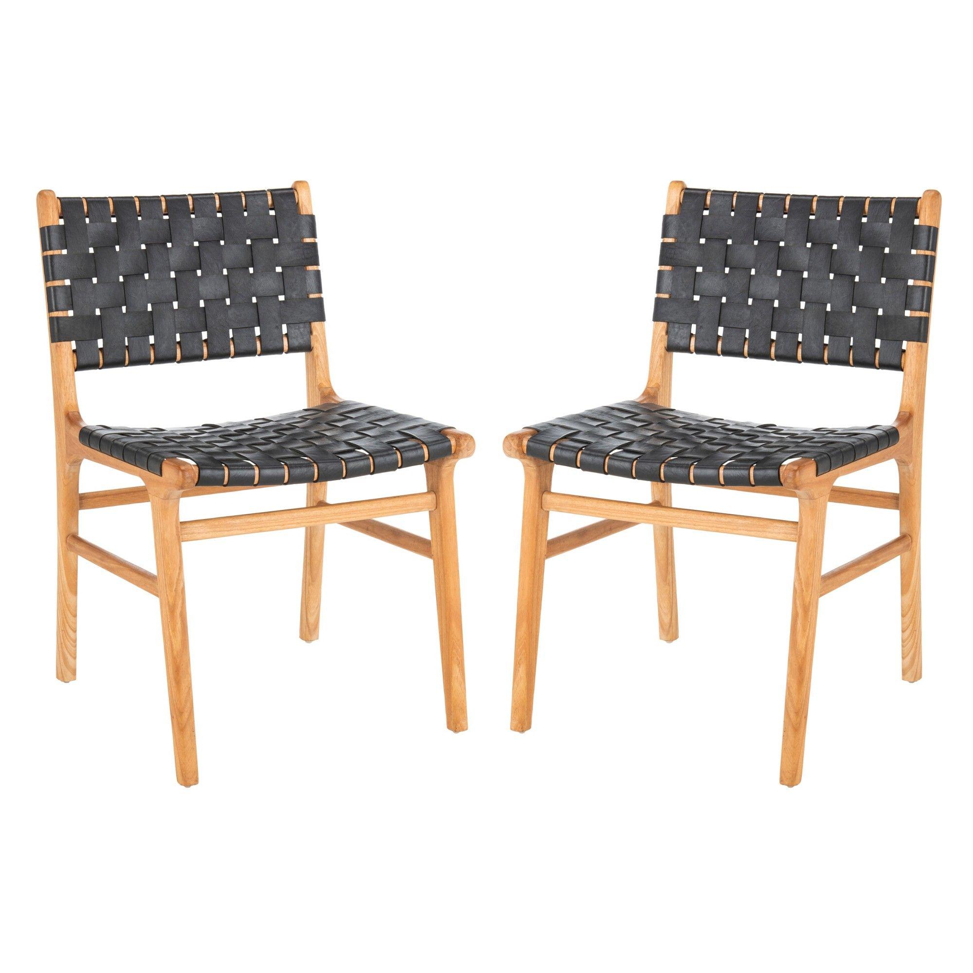 Sensational Set Of 2 Taika Woven Leather Dining Chair Black Safavieh Theyellowbook Wood Chair Design Ideas Theyellowbookinfo