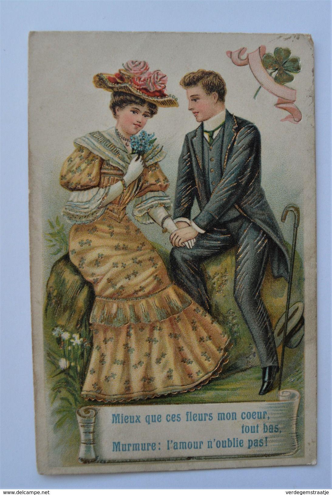 PK/CP Couple Valentine Valentijn Dore Dorure Gold Embossed Gaufree Mode Relief Edit. ASB Litho 1910 SECRET MESSAGE LOOK!