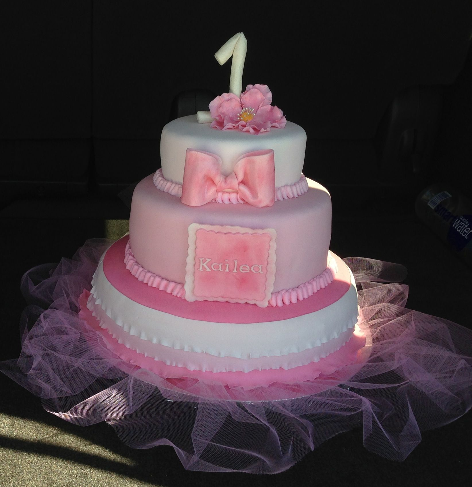3 tier tutu theme girls 1st birthday cake All fondant and