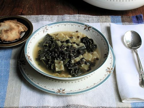 Tuscan Kale and Black Lentil Soup with Crispy Pita Chips