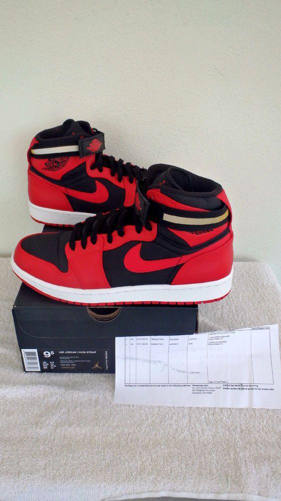 4f99b6bc7b8ff3 Nike Air Jordan AJ1 High Strap Shoes Men  342132-002  Black Gym Red White  Sz 9.5  Jordan  BasketballShoes