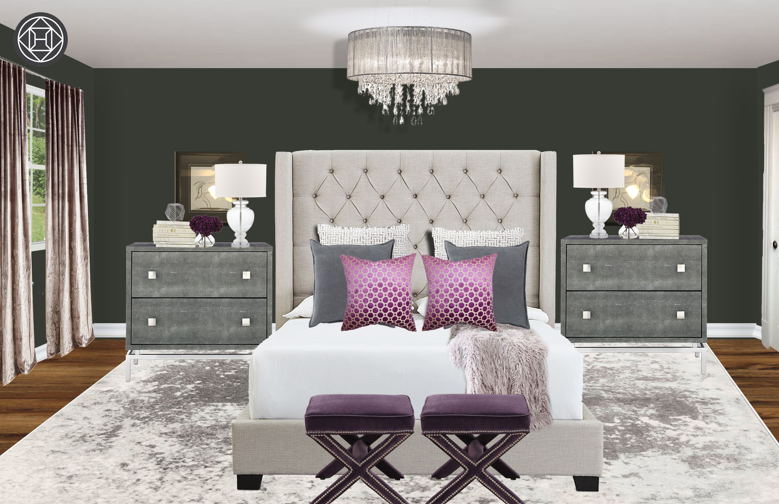 Contemporary Modern Glam Preppy Bedroom Design By Havenly