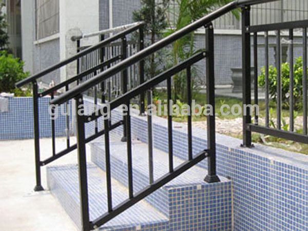 Outdoor Metal Stair Railing Or Removable Aluminum Outdoor Stair | Steel Handrails For Outdoor Steps | Tubular Steel | Steel Handrail Style Kerala Staircase | Stainless | Commercial | Residential