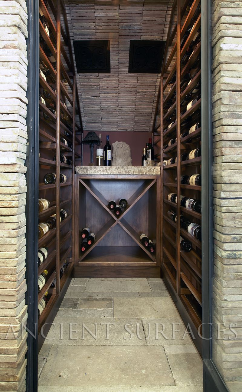 Antique Biblical Stone Covering A Small Niche Wine Room Created