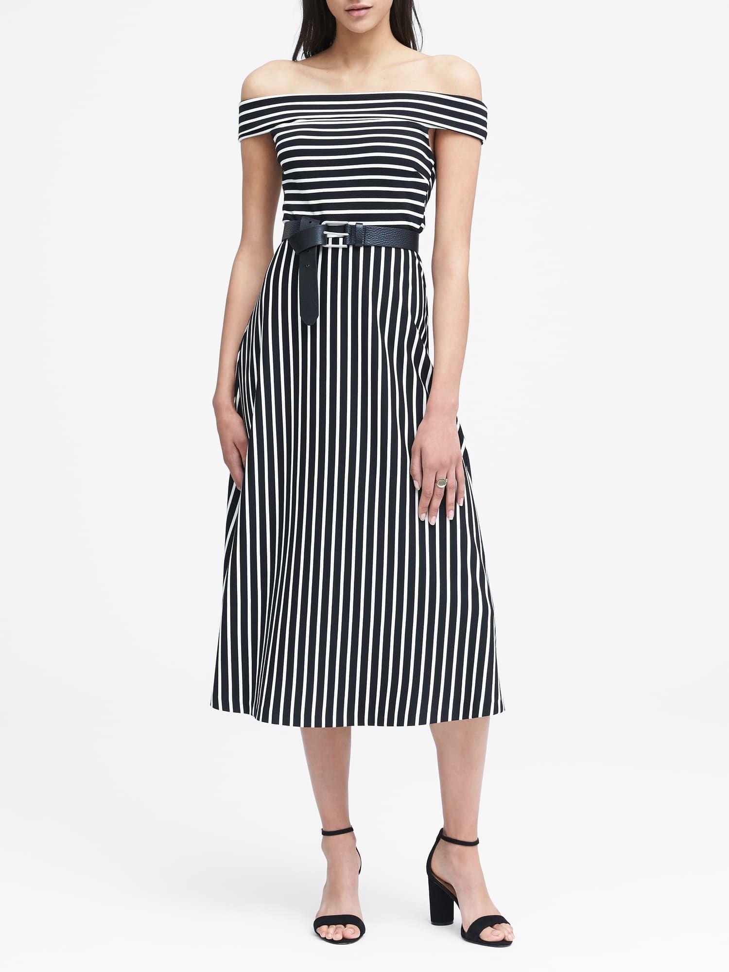 665da98321ae Stripe Ponte Off-the-Shoulder Dress