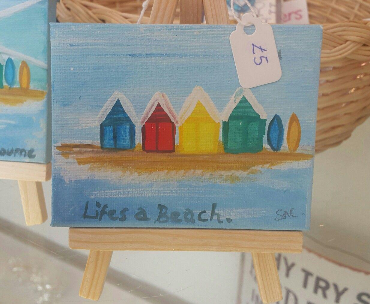 Original artwork on mini easels. #beach #southbourne. #beachhuts