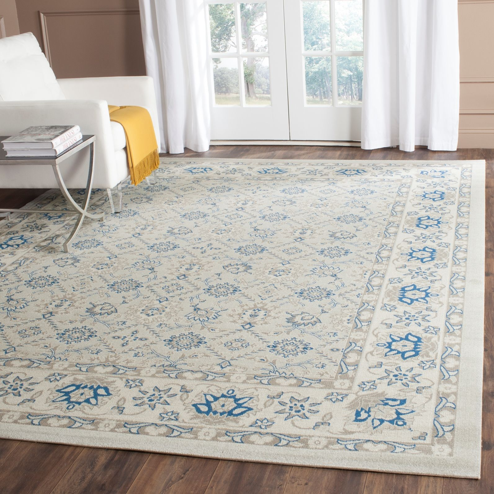 light blue / ivory safavieh power loomed cotton area rugs